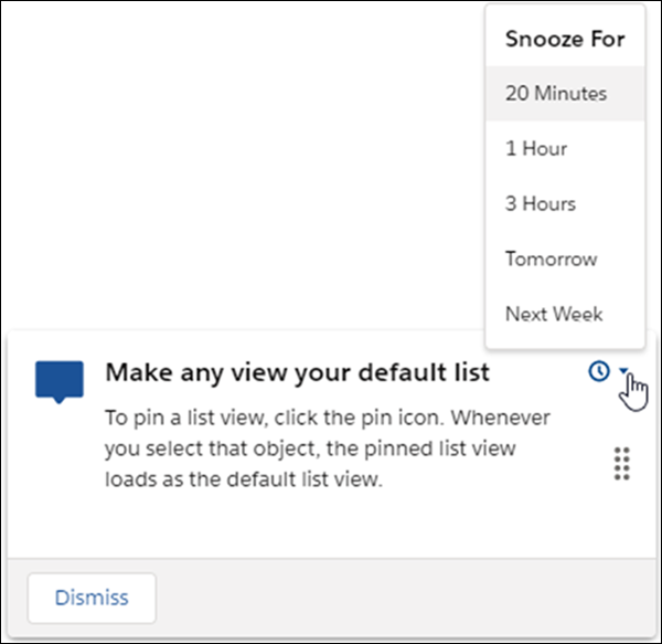 In-app guidance Snooze screen showing options to snooze for 20 minutes, 1 hour, 3 hours, tomorrow, or next week.