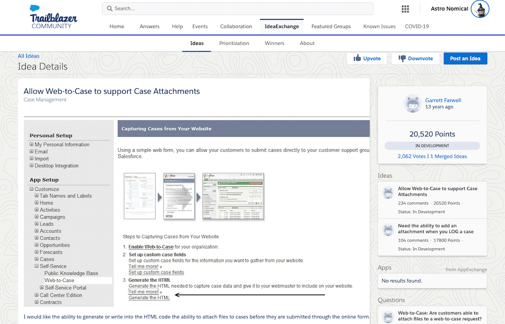 Screenshot showcasing how you can allow Web-toCase to support Case Attachments.