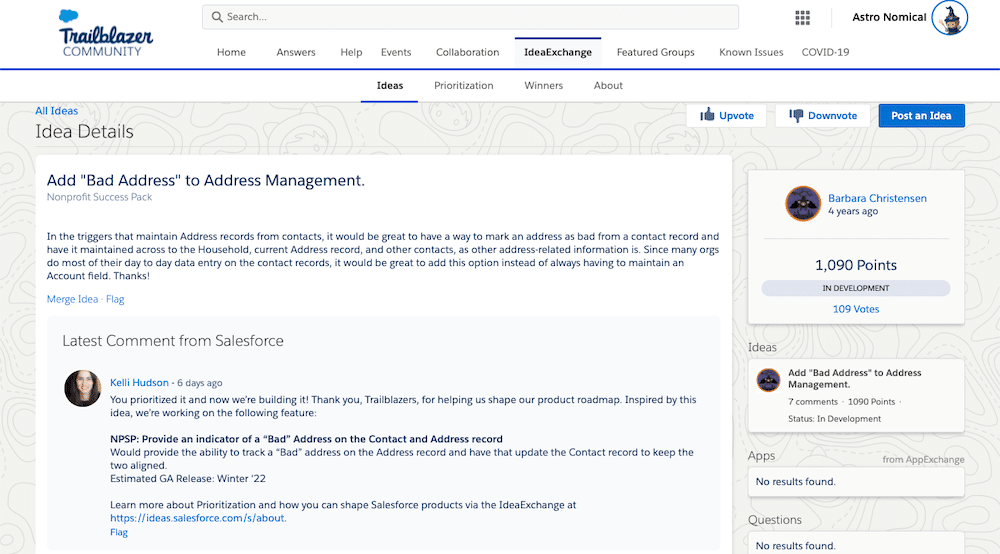 """Screenshot of the idea to add """"Bad Address"""" to Address Management on IdeaExchange."""