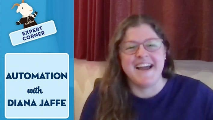 """Image of Diana Jaffe on our """"Expert Corner"""" show chatting about automation."""