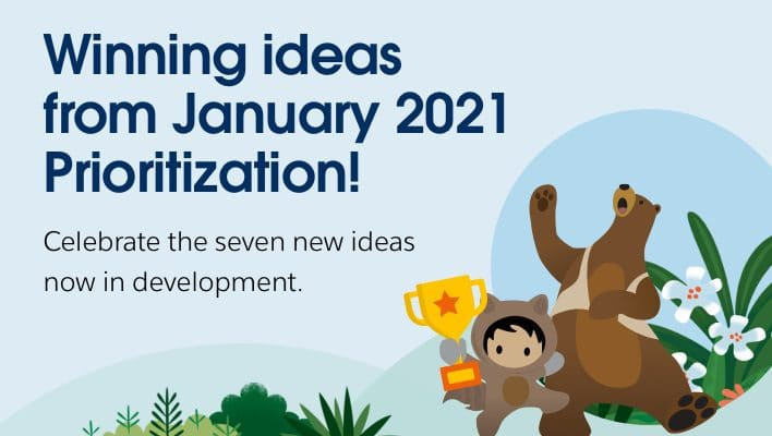 """Codey and Astro holding up a trophy next to text that says """"Winning ideas from January 2021 Prioritization!"""""""