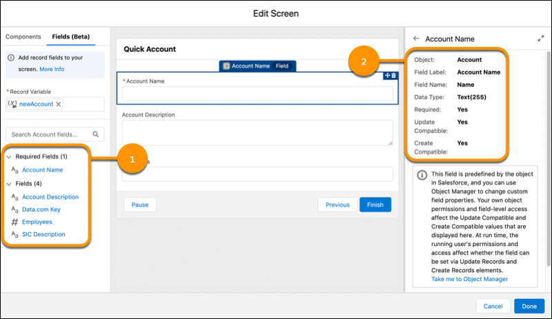 Screenshot showcasing how you can drag a record field onto a flow screen and everything will automatically be configured for you.