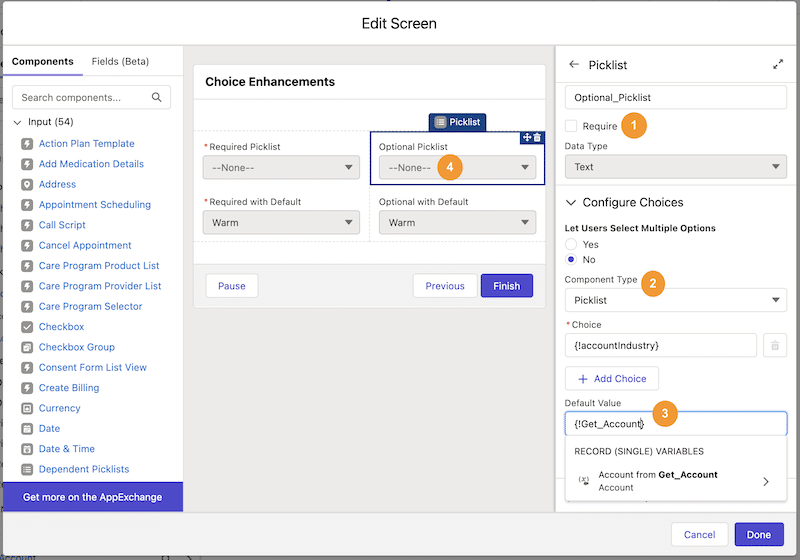 """Screenshot of new flow choices including optional picklists, the ability to easily switch component types, default values for all, and a """"none"""" option for picklists."""