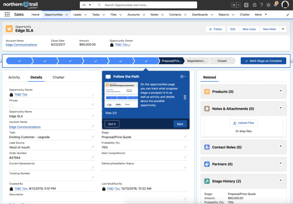 Screenshot showcasing how In-App Guidance appears right where users need it to in Salesforce.