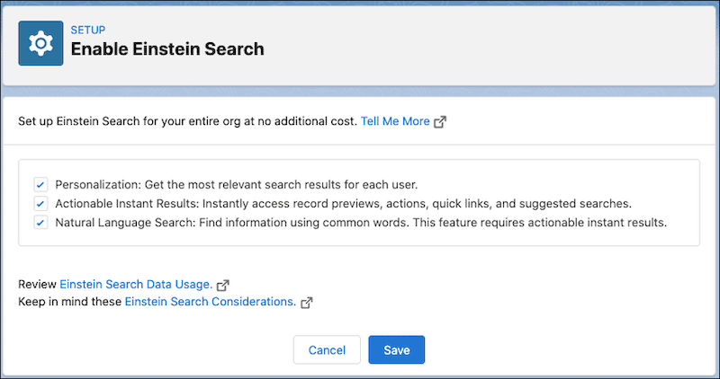Screenshot of the setup screen for Einstein Search which will help users find what they need easier and quicker.