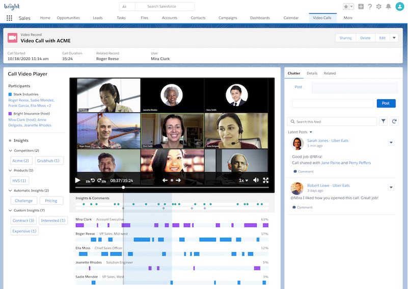 Image of a recorded team conversation on Sales Cloud.