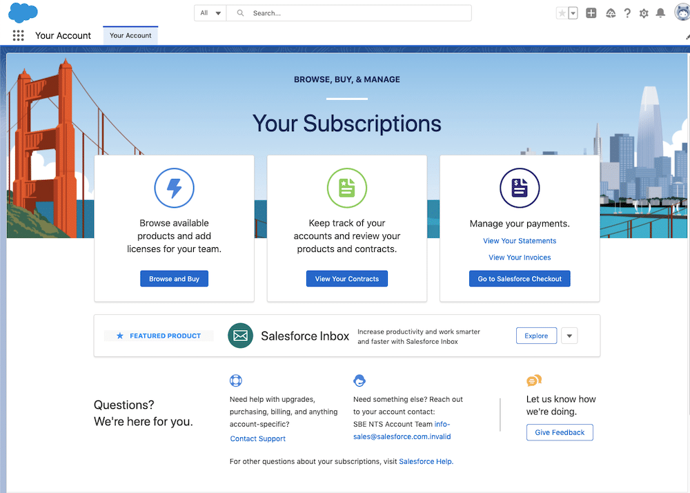 Image of the Your Account homepage which gives several options for managing your subscription.