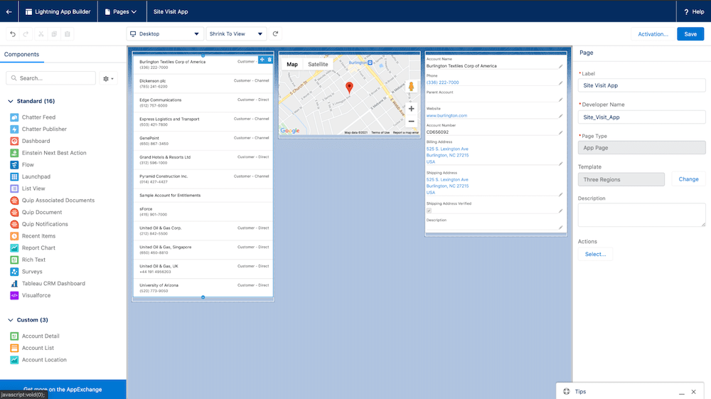 Image of an an app page with three custom components: Account List, Account Detail, and Account Location (a map).