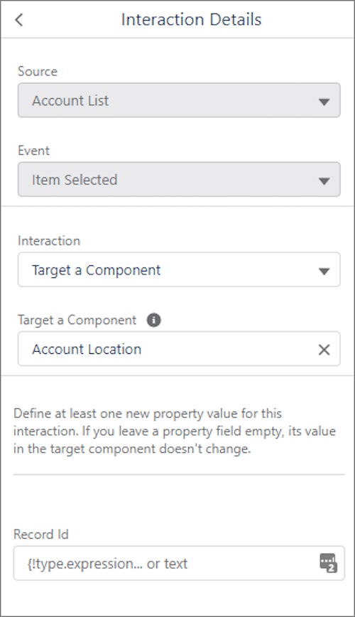 """Image showcasing how the Record ID property appears after """"Account Location"""" was selected at the target."""