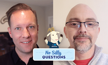 """Image of Jonathan Boutler and Colin Fleming with our """"No Silly Questions"""" logo and Cloudy popping out of it."""
