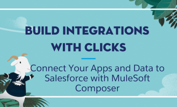 """Cloudy wearing an Awesome Admin t-shirt standing next to text that says """"Build Integrations with Clicks: Connect Your Apps and Data to Salesforce with MuleSoft Composer."""""""