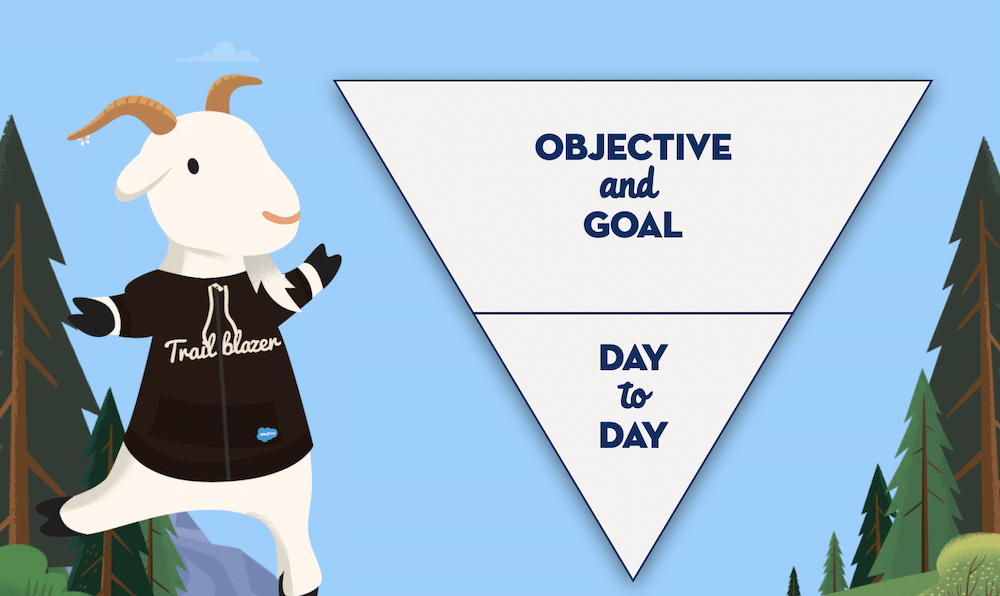 """Cloudy standing next to an upside down triangle broken into two parts. The top says """"Objective and Goal"""" and the bottom says """"Day to Day."""""""