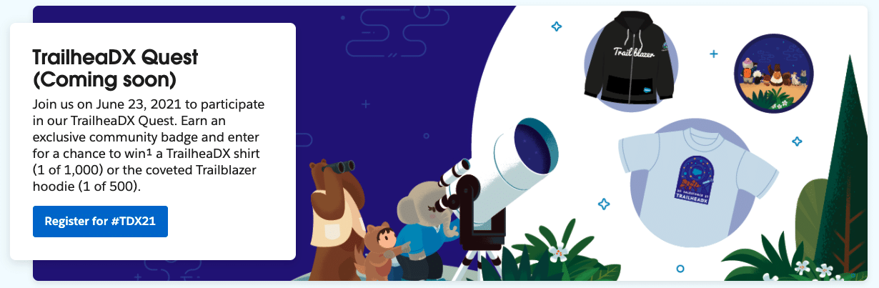 Image announcing the TrailheaDX Quest coming soon for 2021.