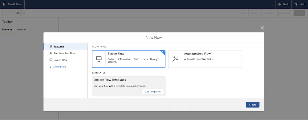 Screengrab showing you how you can set up the Screen Flow with a Display Text component to display the report URL.