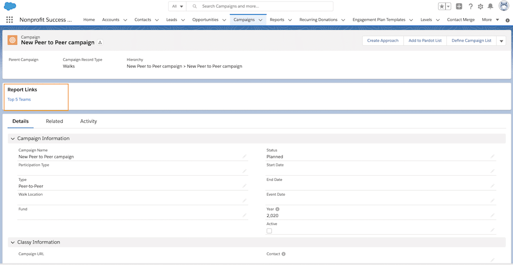 The final product! A Report Links component is displayed only for peer to peer campaigns.