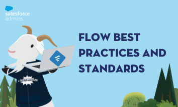 """Image of Cloudy with a computer with the Flow symbol on it and text that says """"Flow Best Practices and Standards."""""""