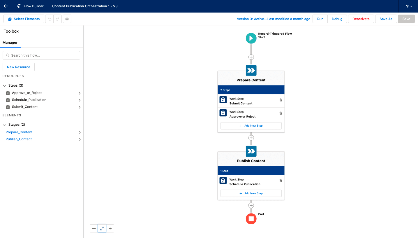 Screenshot showcasing a multi-step flow and how you can combine related tasks into a single stage.