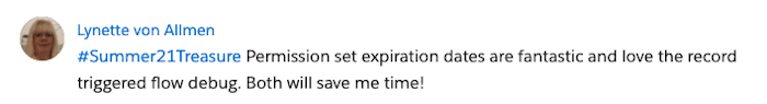 Screenshot from Lynette von Allmen on the Trailblazer Community giving praise to permission set expiration dates.