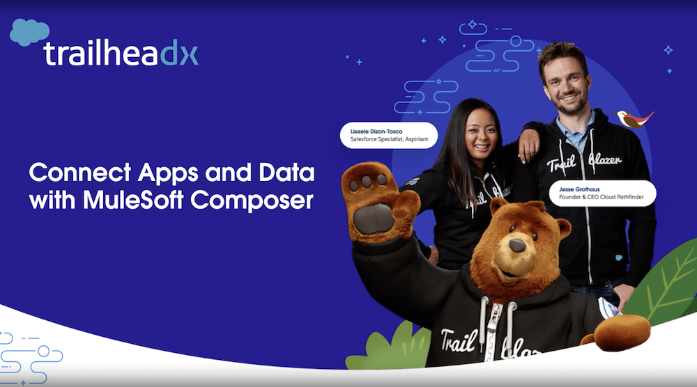 """TrailheaDX image featuring two Trailblazers and Codey in their Trailblazer hoodies. Text says """"Connect Apps and Data with MuleSoft Composer."""""""