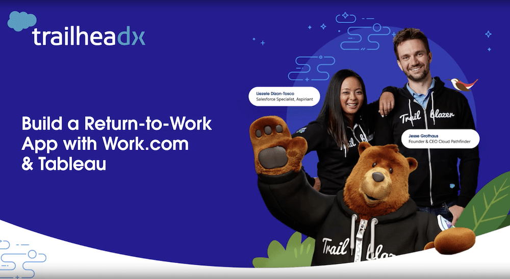 """TrailheaDX image featuring two Trailblazers and Codey in their Trailblazer hoodies. Text says """"Build a Return-to-Work App with Work.com & Tableau."""""""