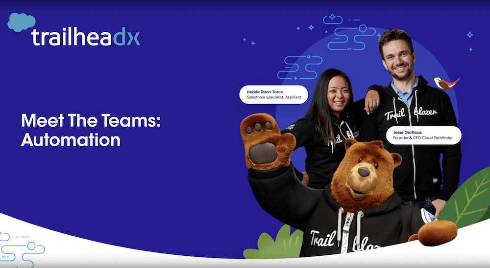 """TrailheaDX image featuring two Trailblazers and Codey in their Trailblazer hoodies. Text says """"Meet the Teams: Automation."""""""