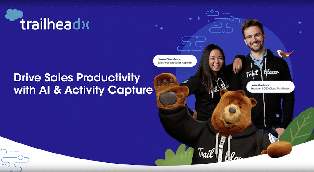 """TrailheaDX image featuring two Trailblazers and Codey in their Trailblazer hoodies. Text says """"Drive Sales Productivity with AI & Activity Capture."""""""