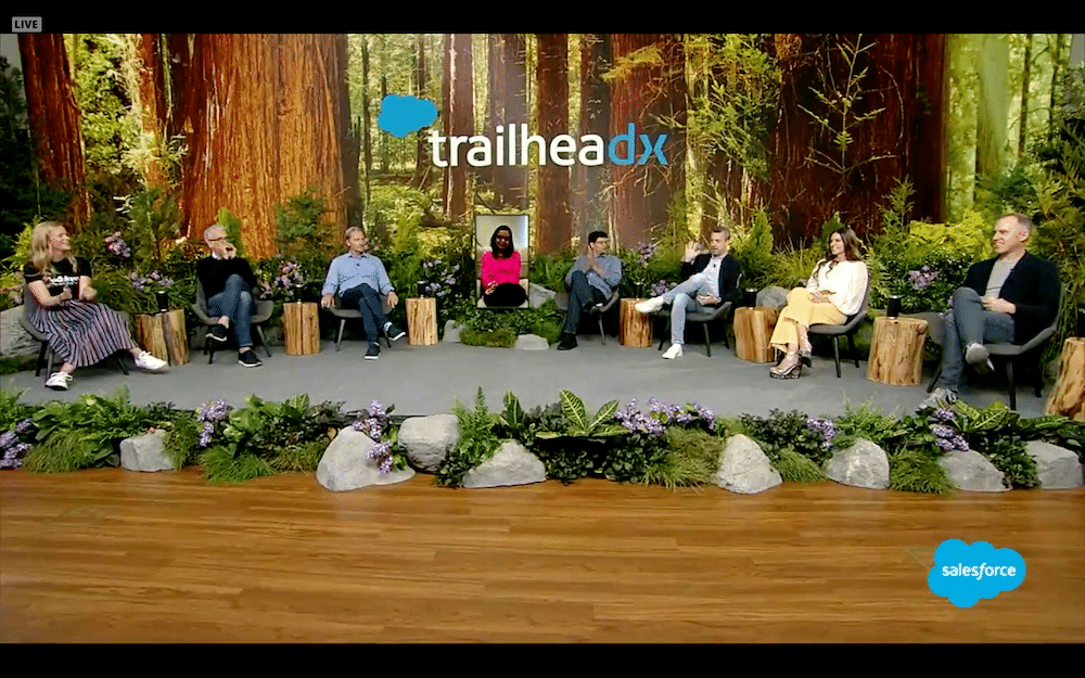 """Image of Salesforce execs answering questions live at the """"Meet the Execs"""" edition of True to the Core at TrailheaDX '21."""
