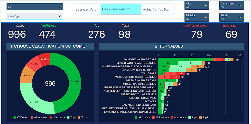 Dashboard view showcasing classification outcome and top values.