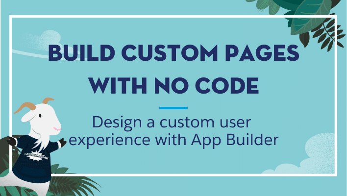 """Cloudy wearing an Awesome Admin t-shirt standing next to text that says """"Build Custom Pages With No Code."""""""