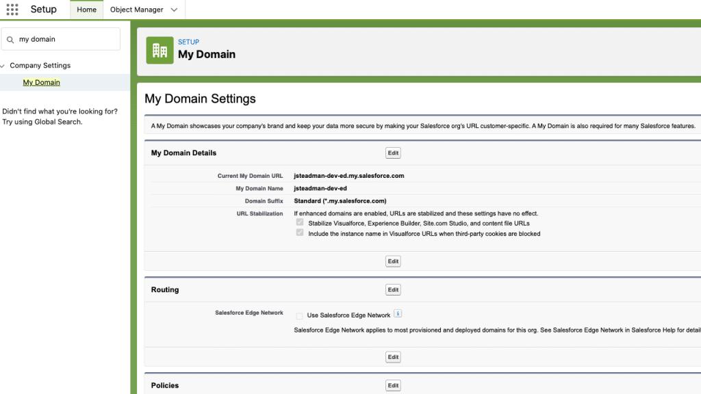 My Domain in Salesforce Setup