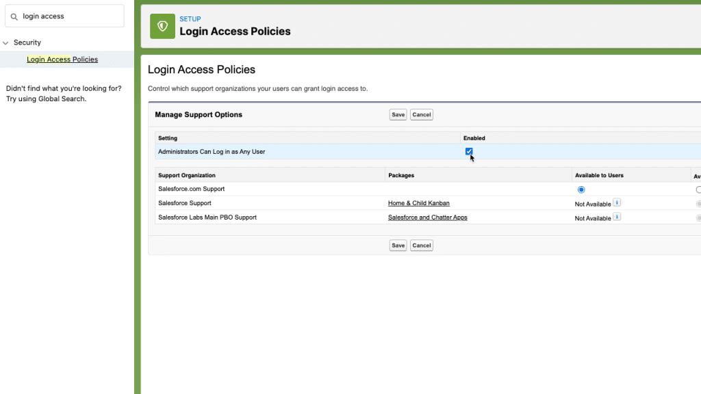 Configure login access policies in Salesforce setup
