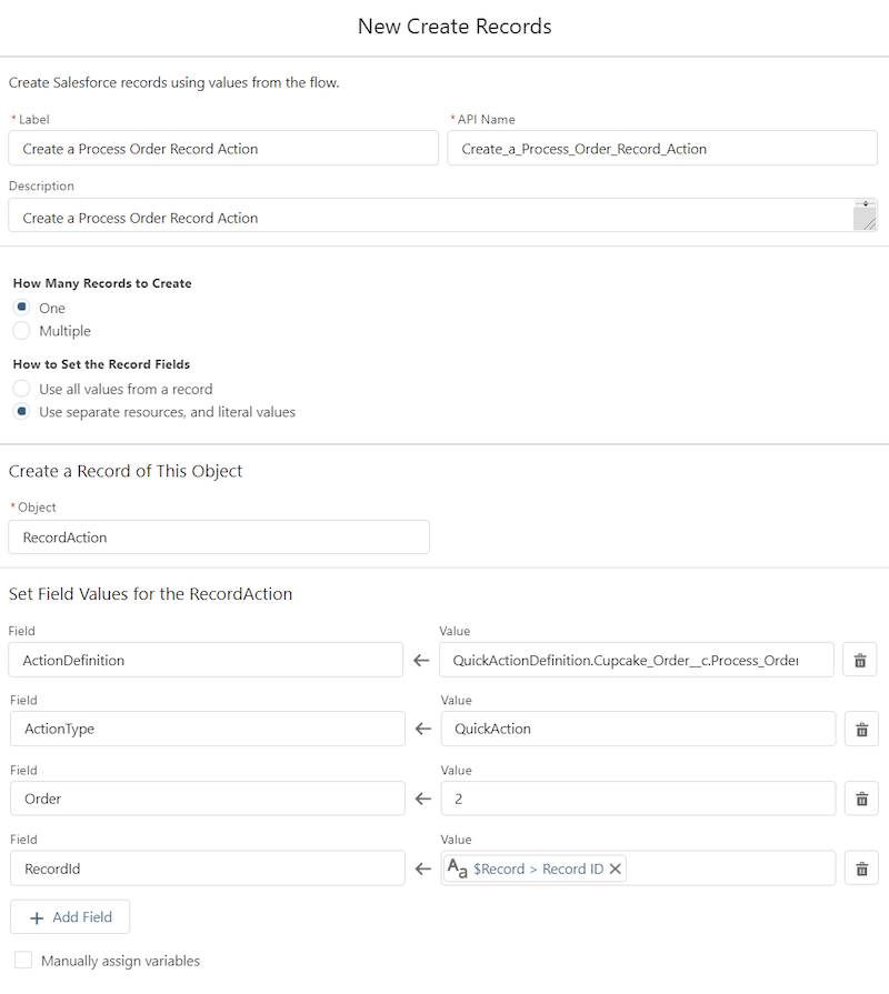 """Screenshot of the Create Records flow element called """"Create a Process Order Record Action."""""""