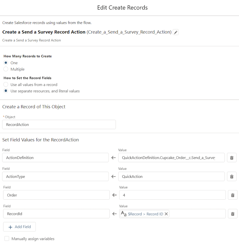 """Screenshot of a Create Records Flow element called """"Create a Send a Survey Record Action""""."""