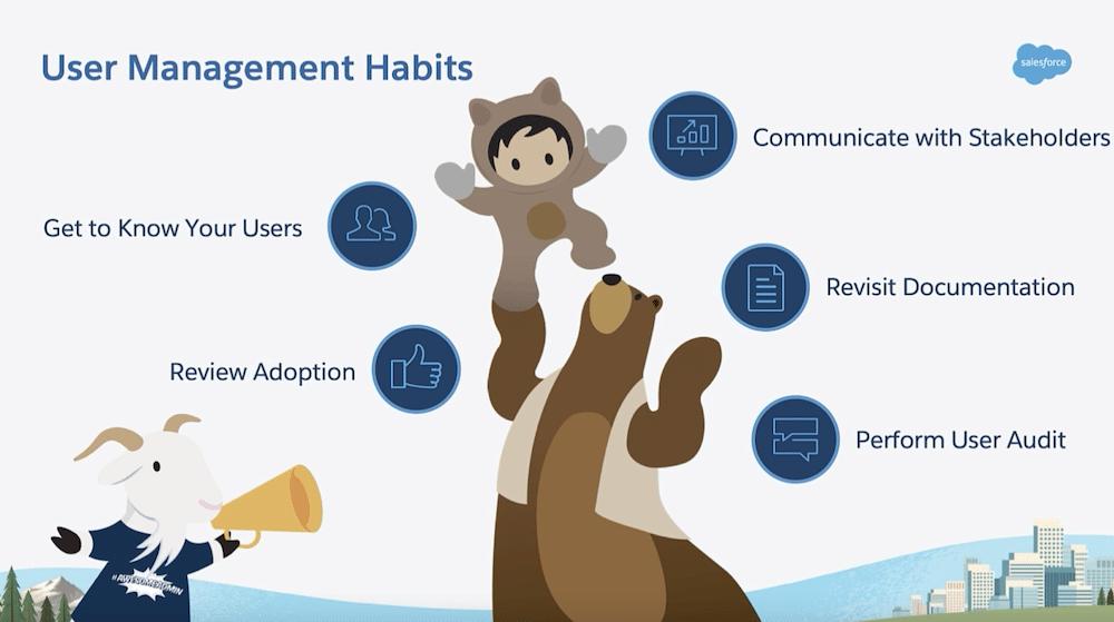Slide that lists out five user management habits for admins.