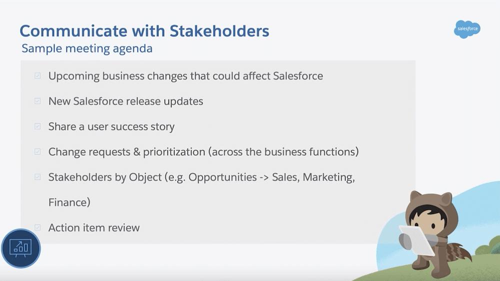 Sample meeting agenda with stakeholders.