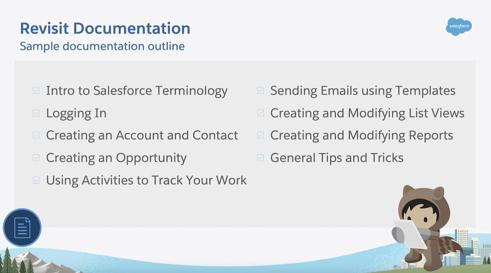 Sample documentation outline.