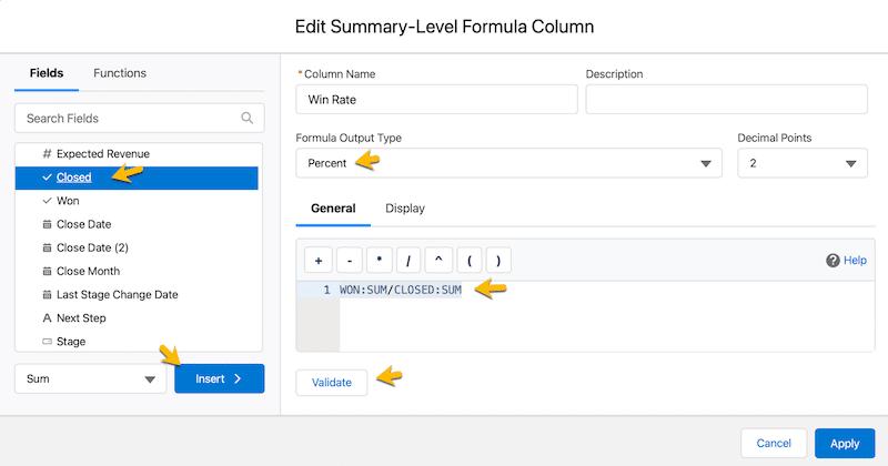Creating a summary formula using the Action pulldown menu.