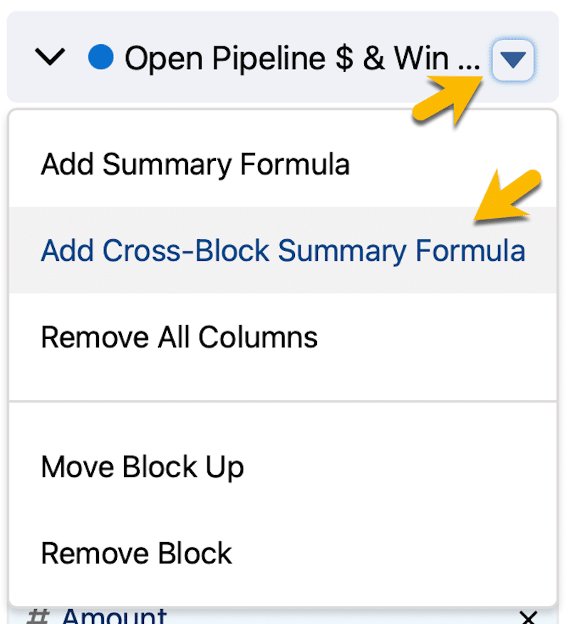 Adding a cross-block formula by clicking the Action menu pulldown.