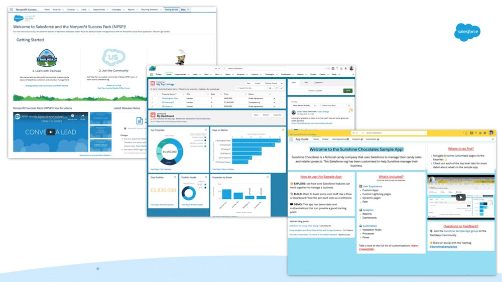 Three layout examples of Salesforce homepages.
