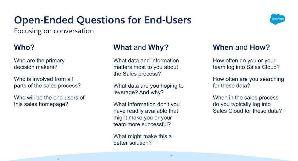 Open-ended questions for end users include asking who, what, why, when, and how questions.