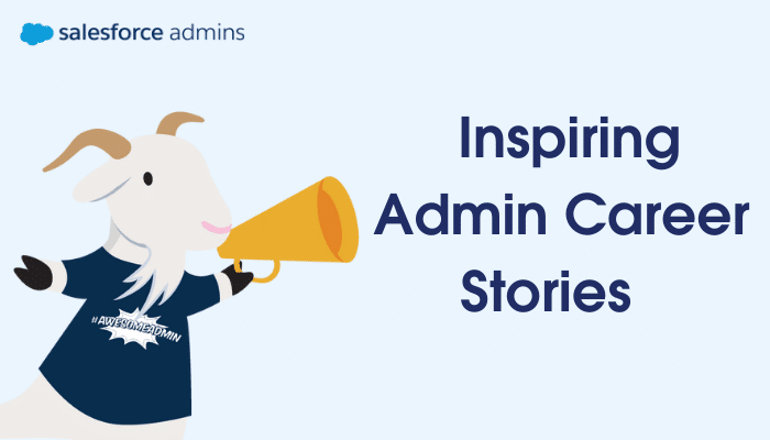 """Cloudy with a megaphone next to text that says """"Inspiring Admin Career Stories."""""""
