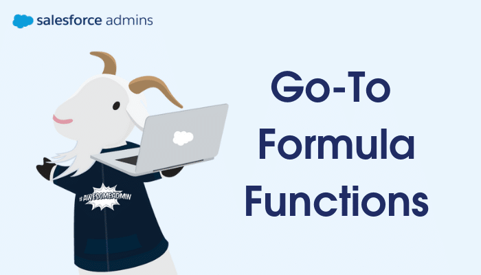 """Cloudy with a laptop standing next to text that says """"Go-To Formula Functions."""""""