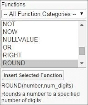 Example of the Formula Functions menu.