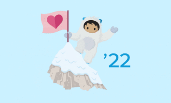 Winter '22 Salesforce Release logo featuring Astro on a mountain.