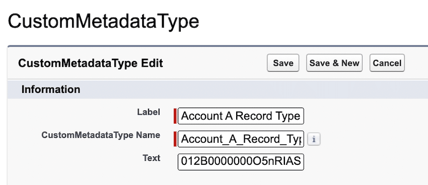 Providing the Label, Name, and Salesforce ID.
