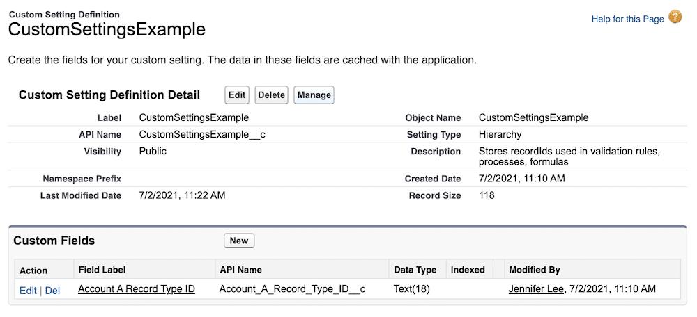 Create custom fields for the custom setting.