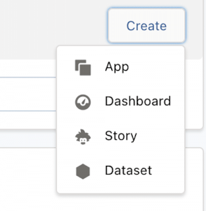 First step to building the Sales Analytics app. Click Create and then App.