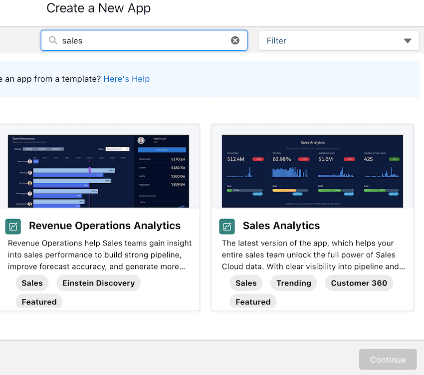 Search for the Sales Analytics App and click Continue twice.