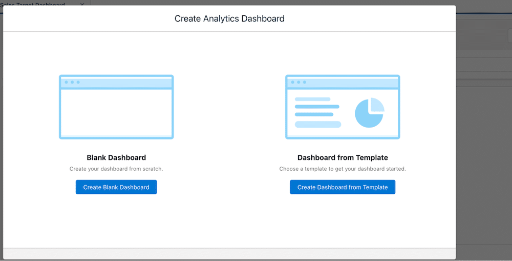 Option to create a blank dashboard or a dashboard from a template.