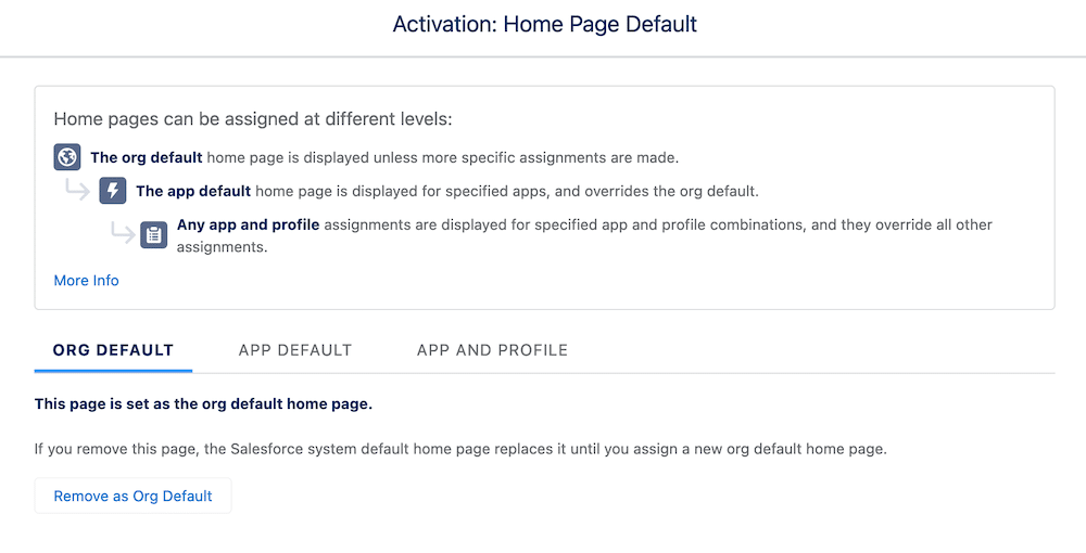 Screen showcasing how home pages can be assigned at different levels.